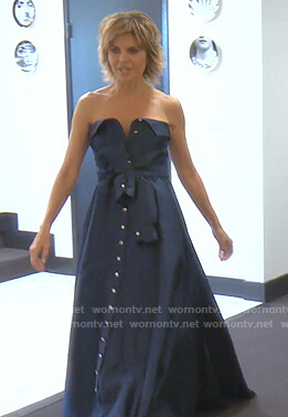 Lisa's navy strapless gown on The Real Housewives of Beverly Hills