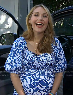 Lori Bergamotto's white and blue abstract print dress on Good Morning America