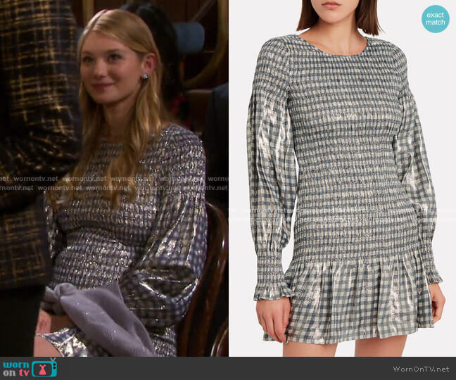 Metallic Check Dress by LoveShackFancy worn by Lindsay Arnold on Days of our Lives