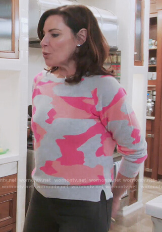 Luann's gray and pink camo sweatshirt on The Real Housewives of New York City