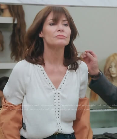 Luann's white studded blouse on The Real Housewives of New York City