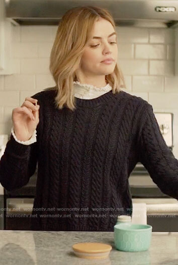 Lucy's navy cable knit sweater on A Nice Girl Like You