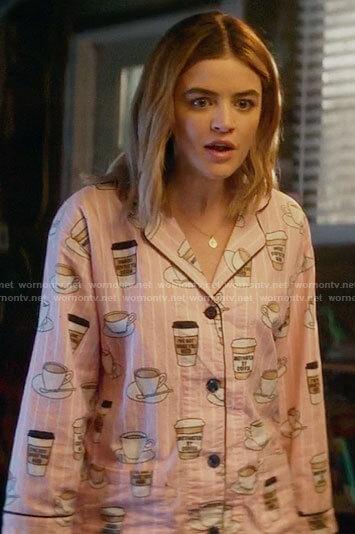 Lucy's pink coffee print pajamas on A Nice Girl Like You