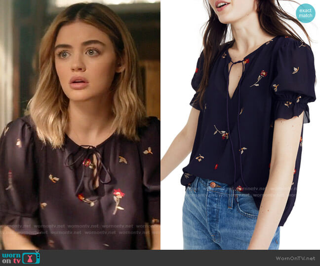 Madewell Embroidered Zephyr Ruffle Sleeve Top worn by Lucy Neal (Lucy Hale) on A Nice Girl Like You