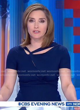 Margaret Brennan's blue twisted neckline dress on CBS Evening News