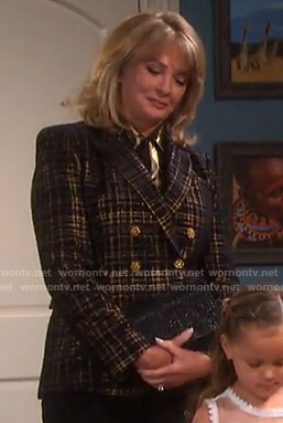 Marlena's metallic plaid blazer on Days of our Lives