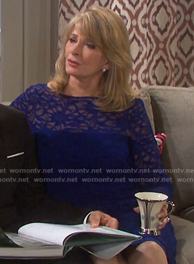 Marlena's blue long sleeve lace dress on Days of our Lives