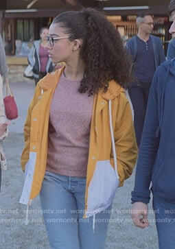 Mary-Anne's yellow colorblock windbreaker jacket on The Baby-Sitters Club