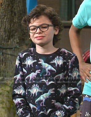 Matteo's black dinosaur print sweatshirt on Bunkd