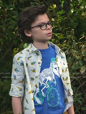 Matteo's blue dinosaur print tee and shirt on Bunkd