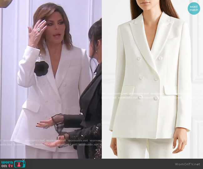 Double-Breasted crepe Blazer by Max Mara worn by Lisa Rinna  on The Real Housewives of Beverly Hills