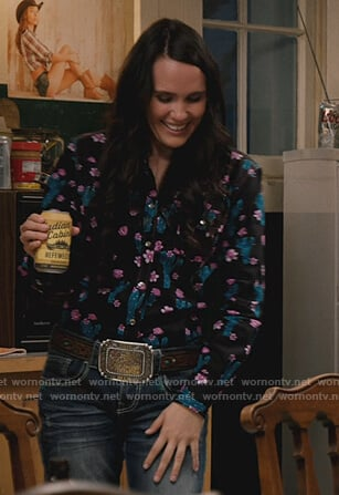 Mia's black floral shirt on Yellowstone