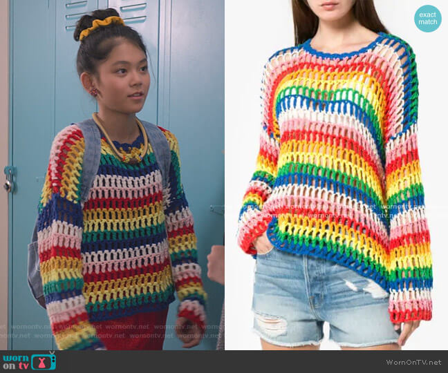 Rainbow Open Hand Crochet Sweater by Mira Mikati worn by Claudia Kishi (Momona Tamada) on The Baby-Sitters Club
