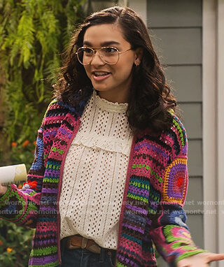 Ashley's eyelet top and crocket sweater on The Expanding Universe of Ashley Garcia