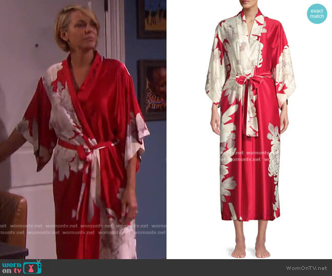 Opulent Floral Robe by Natori worn by Nicole Walker (Arianne Zucker) on Days of our Lives