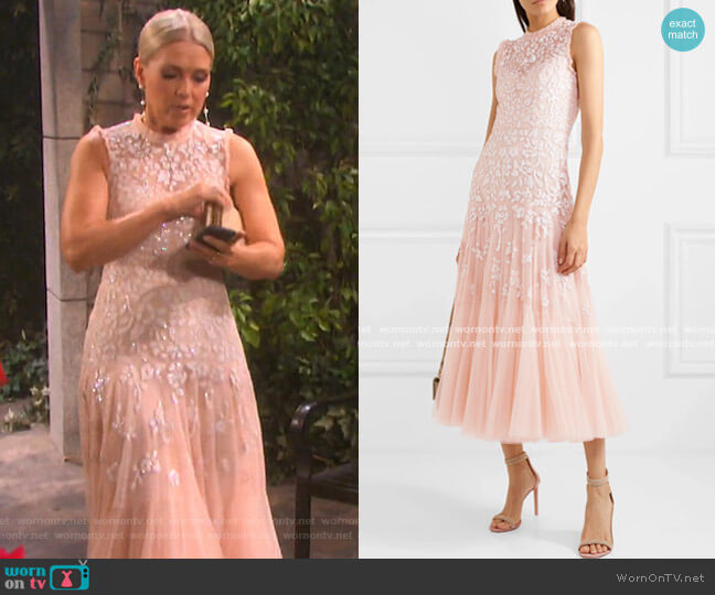 Bella Embellished Tulle Midi Dress by Needle & Thread worn by Jennifer Horton (Melissa Reeves) on Days of our Lives