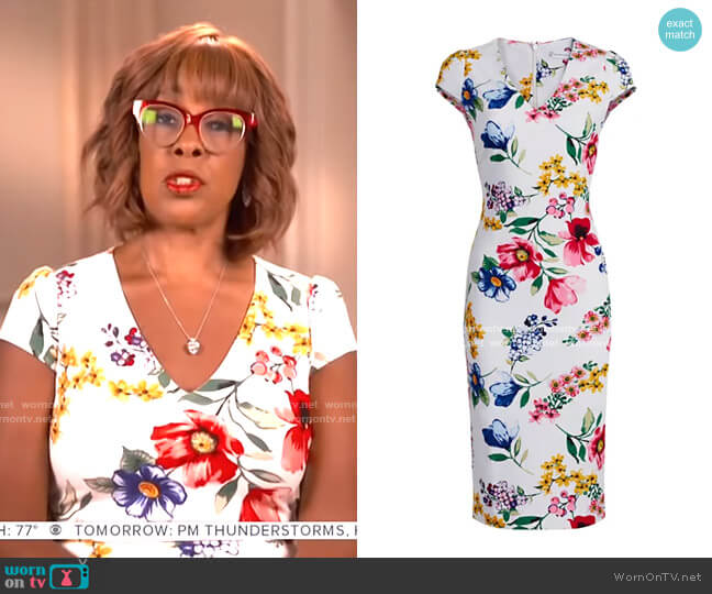 Floral Cap-Sleeve Sheath Dress by New York & Company worn by Gayle King  on CBS This Morning