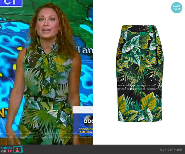 Sora Wrap Skirt - Eva Mendes Collection by New York & Company worn by Ginger Zee  on Good Morning America