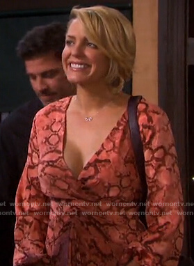 Nicole's coral snake print dress on Days of our Lives