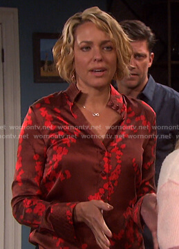 Nicole's red floral blouse on Days of our Lives