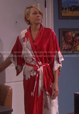 Nicole's red floral robe on Days of our Lives