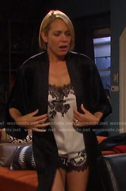 Nicole's white lace trim camisole and shorts on Days of our Lives
