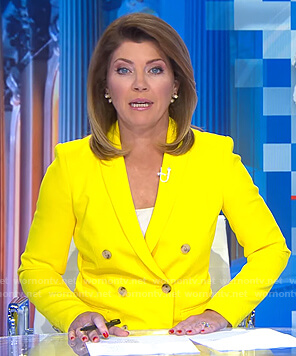 Norah's yellow double breasted blazer on CBS Evening News