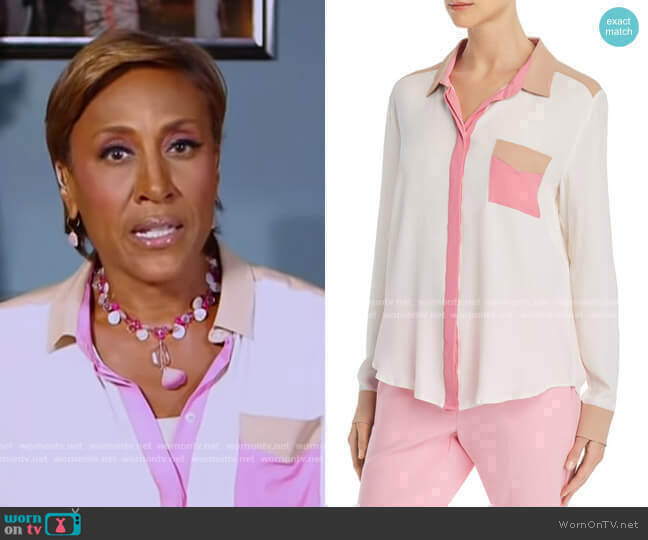 Odessa Color-Blocked Button-Down Shirt by Marella worn by Robin Roberts  on Good Morning America