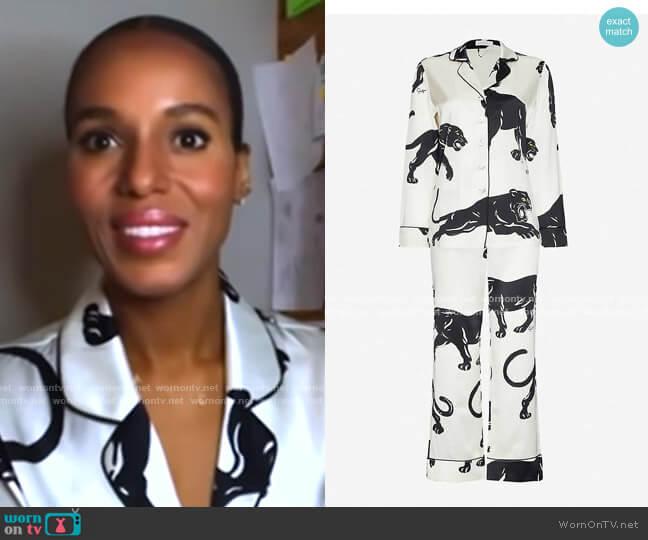 Lila Panther-Print Silk Pyjamas by Olivia Von Halle worn by Kerry Washington on GMA
