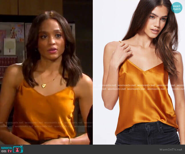 Cicely Silk Camisole by Paige worn by Lani Price (Sal Stowers) on Days of our Lives