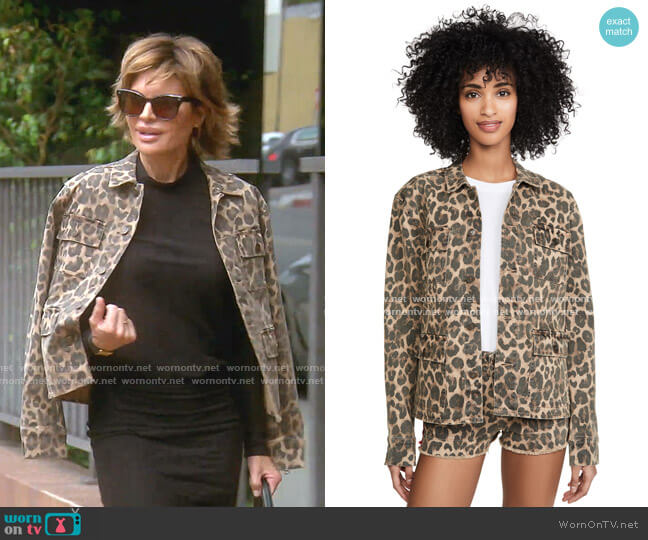 Leopard Army Shirt Jacket by Pam & Gela worn by Lisa Rinna  on The Real Housewives of Beverly Hills