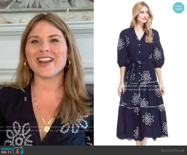 Floral Eyelet Belted Tiered Dress by Pearl by Lela Rose worn by Jenna Bush Hager  on Today