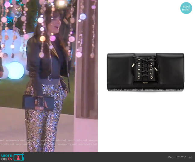 Le Corset Clutch Bag by Perrin Paris worn by Kyle Richards  on The Real Housewives of Beverly Hills