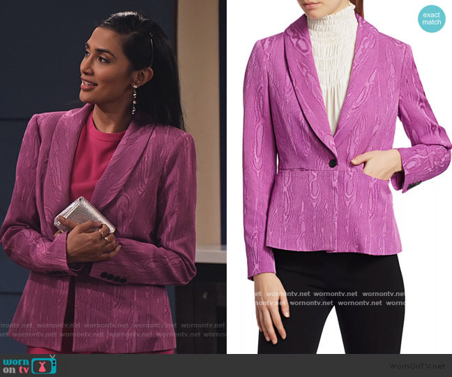 Rendez Jacquard Blazer by Rachel Comey worn by Hina Abdullah on The Expanding Universe of Ashley Garcia