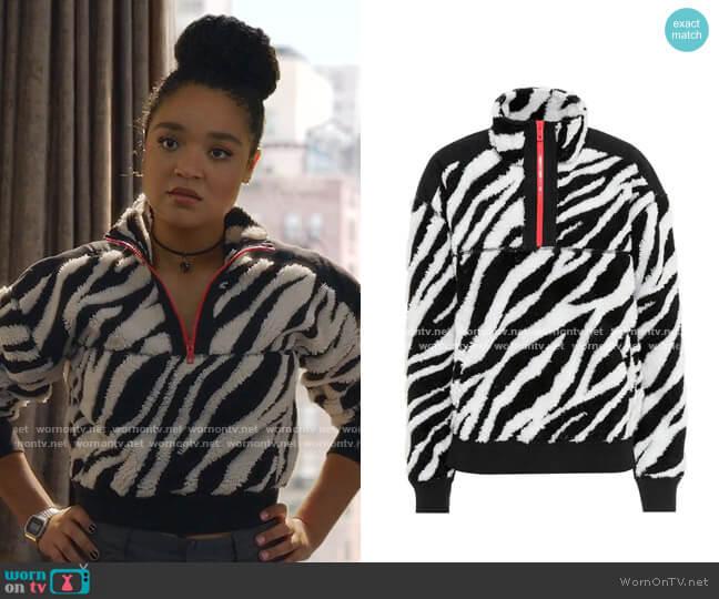 Zebra Half-Zip Sweatshirt by Rag & Bone worn by Kat Edison (Aisha Dee) on The Bold Type