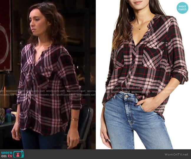 Bentley Plaid Flannel Shirt by Rails worn by Emily O'Brien on Days of our Lives