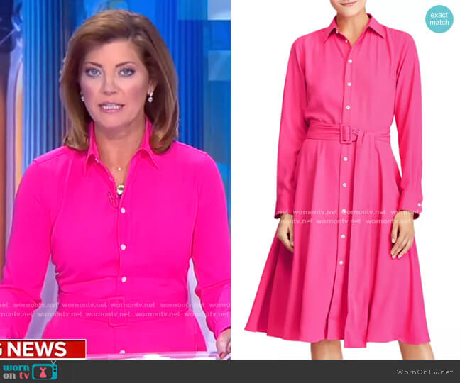 Long-Sleeve Belted Shirtdress by Polo Ralph Lauren worn by Norah O'Donnell  on CBS Evening News
