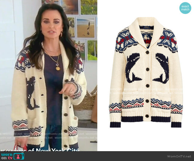 Nautical Shawl Cardigan by Ralph Lauren worn by Kyle Richards  on The Real Housewives of Beverly Hills
