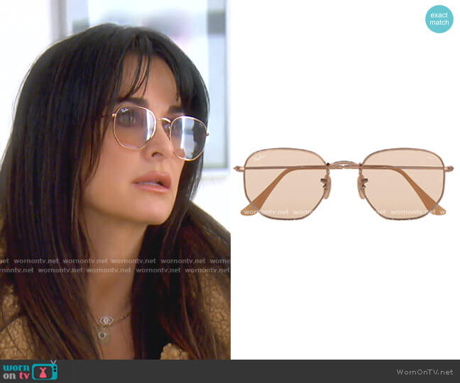 Hexagonal Evolve Sunglasses by Ray Ban worn by Kyle Richards  on The Real Housewives of Beverly Hills