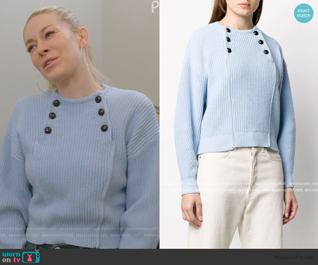 Natalie buttoned-bib sweater by Rebecca Minkoff worn by Leah McSweeney  on The Real Housewives of New York City