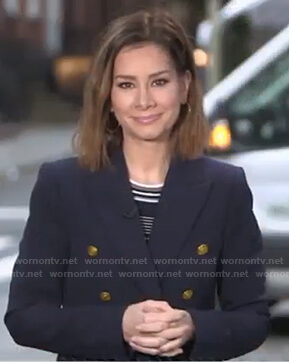 Rebecca's navy striped ribbed knit top on Good Morning America