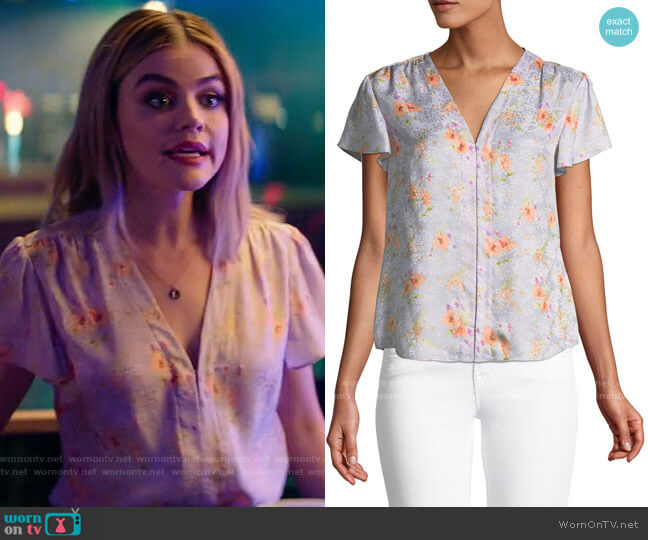 Rebecca Taylor Emilia Floral Silk Hook-Front Top worn by Lucy Neal (Lucy Hale) on A Nice Girl Like You