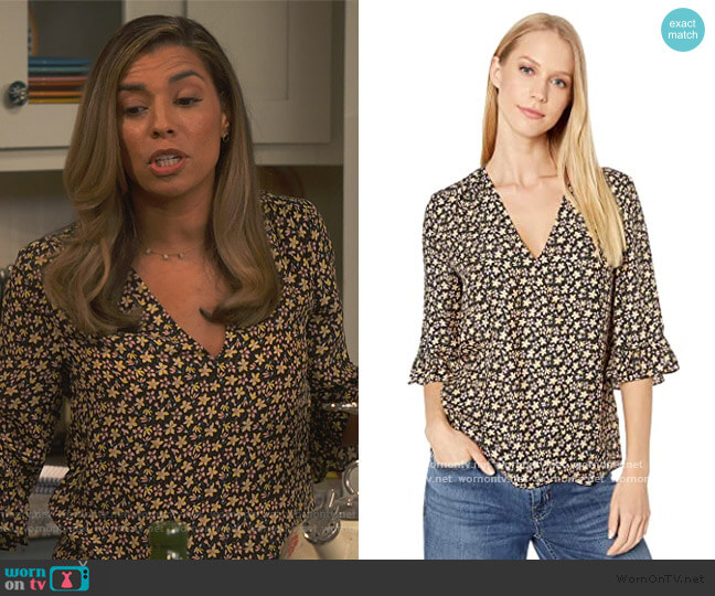 Long Sleeve Louisa Floral Top by Rebecca Taylor worn by Jo (Christina Vidal Mitchell) on United We Fall