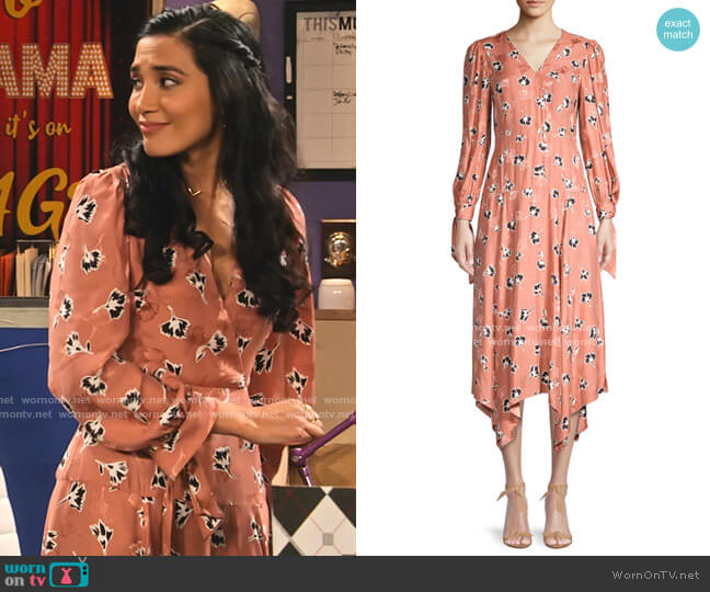 Paintbrush Stretch-Silk Midi Dress by Rebecca Taylor worn by Hina Abdullah on The Expanding Universe of Ashley Garcia