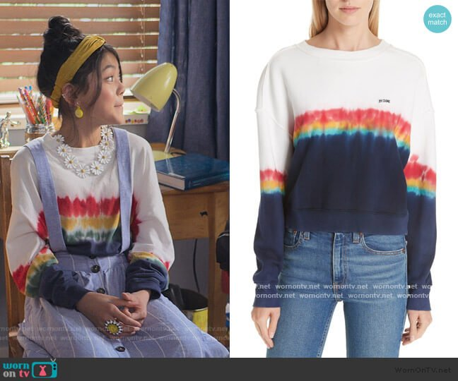 Rainbow Dye Tee by Re/done worn by Claudia Kishi (Momona Tamada) on The Baby-Sitters Club