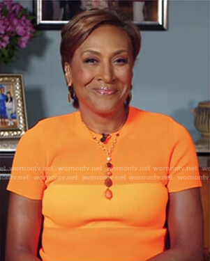 Robin's orange colorblock ribbed tee on Good Morning America
