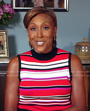 Robin's red striped sleeveless knit top on Good Morning America