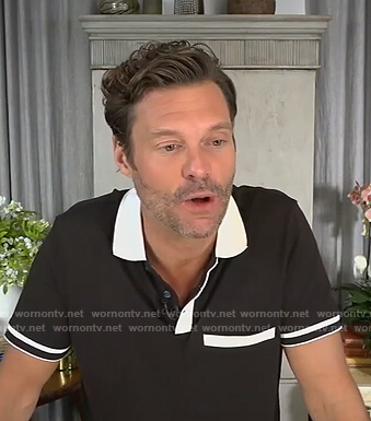 Ryan Seacrest's black contrast polo shirt on Live with Kelly and Ryan