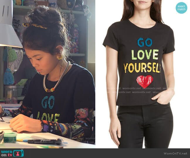 Rylyn Go Love Yourself Sparkle Tee by Alice + Olivia worn by Claudia Kishi (Momona Tamada) on The Baby-Sitters Club