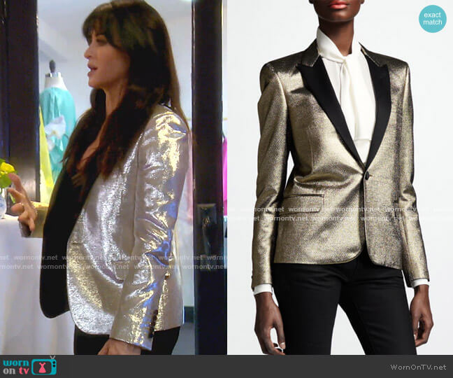 Metallic One-Button Blazer by Saint Laurent worn by Kyle Richards  on The Real Housewives of Beverly Hills